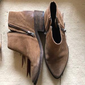 All saints tan suede ankle boots zipper designer